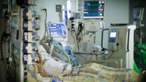 A curarized patient in intensive care.