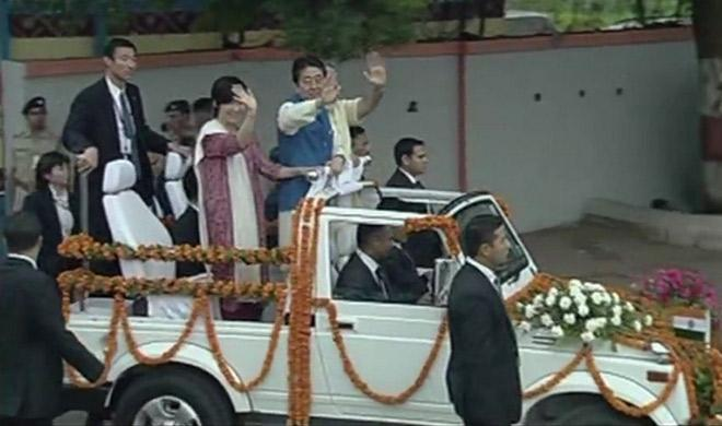 Japanese PM Shinzo Abe arrives in India