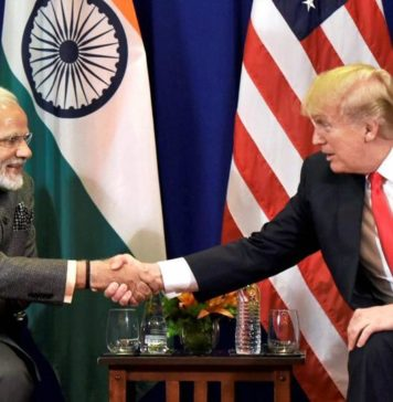 PM Narendra Modi and Trump shaking hands during ASEAN Summit
