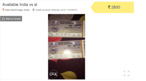 Holkar Stadium Tickets are being Sold on Facebook and OLX Price hikes upto 3 times 1